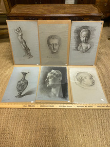 Large assortment of antique French charcoal studies