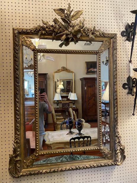 Antique French Empire cushion gilt mirror $1250