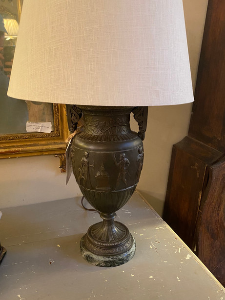 Antique pair of French neoclassical themed spelter handled urn garniture lamps with green levanto marble bases   $850