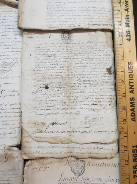 Large assortment of Antique French handwritten manuscripts documents circa 17th & 18th century