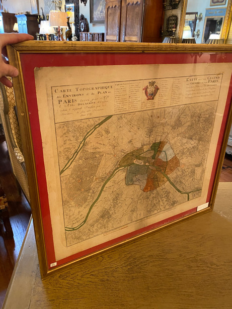 """Antique French map of Districts of Paris in 1739 with watercolor highlights circa 1860  30""""x27"""" $585"""
