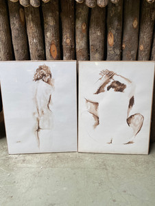 Large asortment of Vintage French Jacqueline Oblin (1933-1999) watercolour on ink & color pencil lithograph nudes