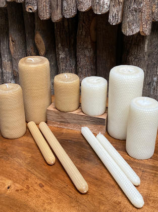Natural Handrolled Beeswax Candles available in Natural & Ivory