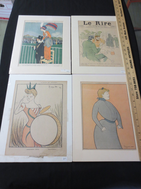 Vintage French humor magazine Le Rire chromotypograph covers and prints circa 1900-1920