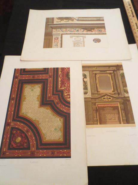 Antique French chromolithograph prints from Decorations Peintes Troisieme serie des Motifs de Decorations circa 1880s $95 each