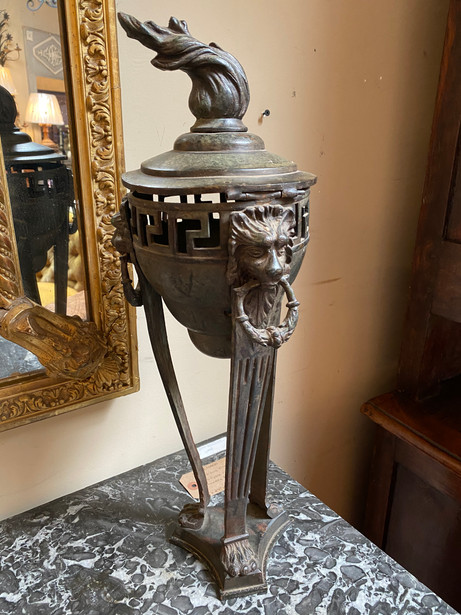 Antique Italian Athenienne style bronze tripod sanctuary urn with Greek key and lion head mounts $695