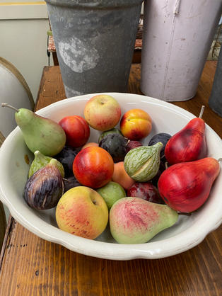 Italian hand carved & painted marble fruit