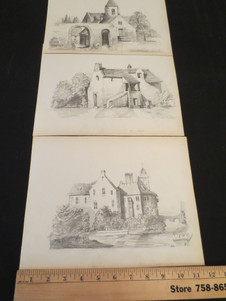 Antique French pencil drawings of architecture & buildings   $55 each
