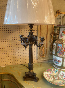 """Antique French Empire pair of bronze clawfoot candelabra lamps 13.5""""x23.5""""  $1750"""