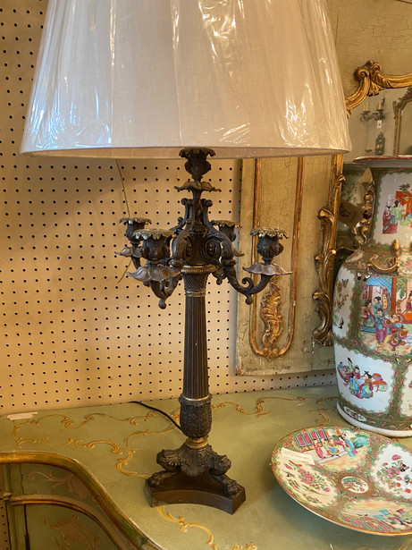 "Antique French Empire Napoleon III pair of spelter & gilt bronze clawfoot candelabra lamps 13.5""x23.5""  $1750"