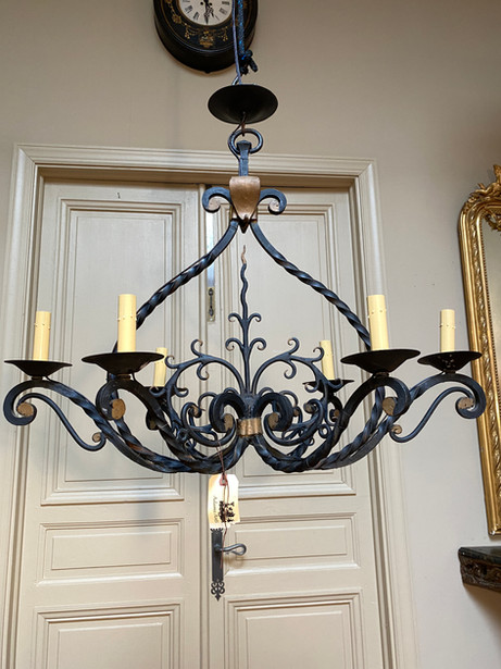 Antique French painted & gilt wrought iron six arm chandelier  $1100