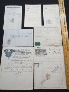 Large assortment of Antique French wine, textile, & goods sales invoices circa 1900