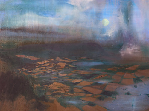 Signed Giclee print of Moonrise Over Waterlogged Land