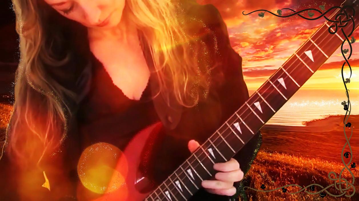 Kim Andrews and her Tokai guitar