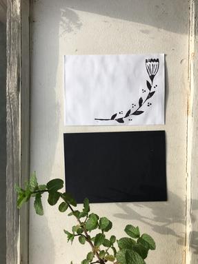 Hand printed B&W envelopes