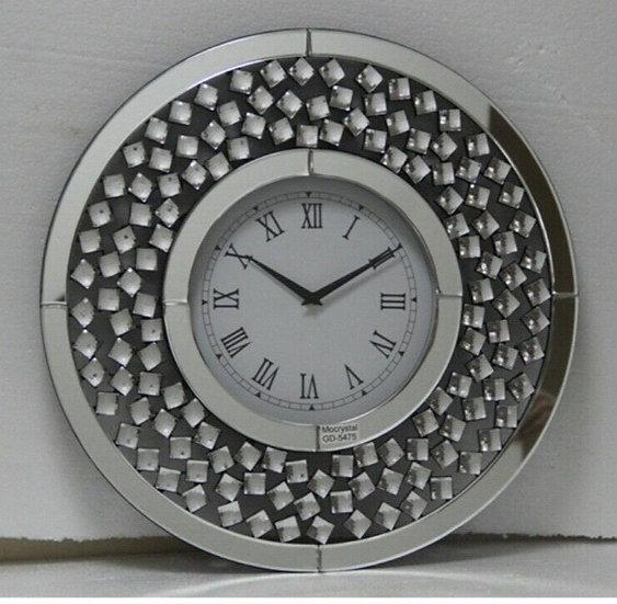Kristall Wanduhr Silber Rund Ø 50cm