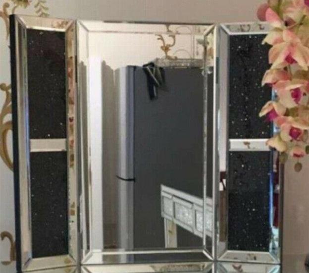 Hängespiegel, Schminktischspiegel mit schwarzer Kristallsteinoptik 70x60 cm