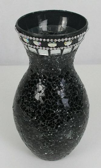 Mosaikglas Craquelé Crackle Glasvase, Glasmosaik Dekovase, Silber oder Schwarz
