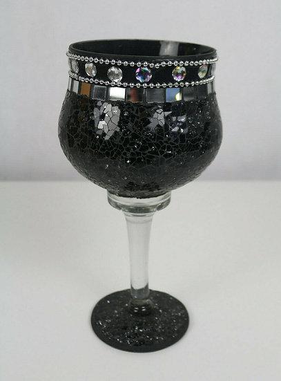Dekoschale, Dekotrinkglas; Mosaikglas, Craquelé Crackle Glas (Silber/Schwarz)