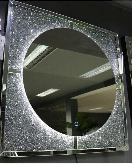 Hängespiegel 100 x 100cm LED-Funktion und Diamantoptik