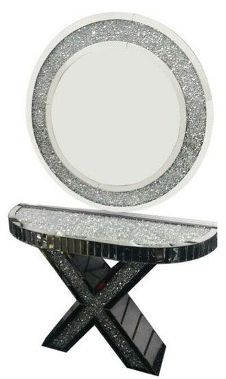 Hängespiegel mit passender Console, Diamantoptik, 120 cm Durchmesser