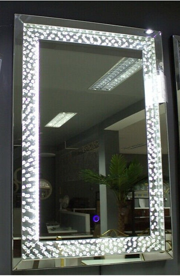 Hängespiegel 80x120 cm Kristalloptik LED