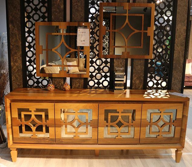 LIZBON Sideboard mit passendem Spiegel, Eiche oder Weiss