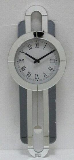 Kristall Wanduhr Silber länglich 30 x 80cm mit Spiegelkante