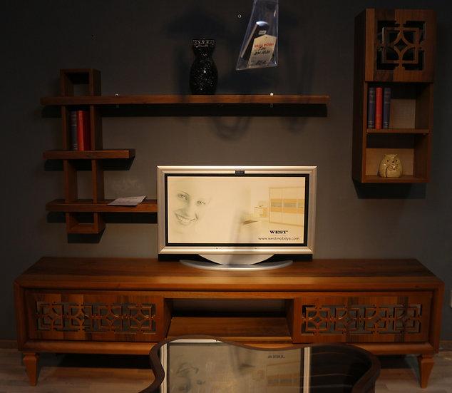 Lizbon TV Tisch, Lowboard mit passendem Regal und Hängeschrank, Eiche oder Weiss