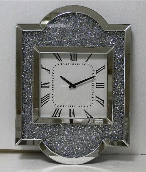 Kristall Wanduhr Silber Eckig 50 x 67,5cm mit Kristallsteinoptik