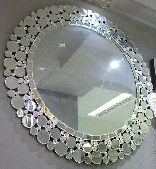 Hängespiegel ∅ 105cm Kristalloptik mit Kreisenkante