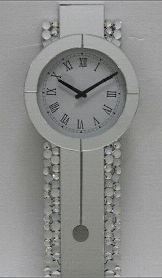 Kristall Wanduhr Silber länglich 30 x 80cm mit Kreisenkante