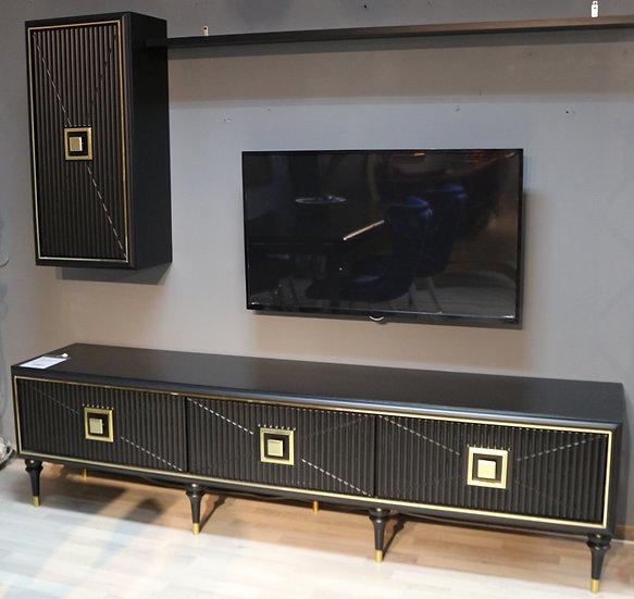 Hilton TV Tisch, Lowboard mit Hängeschrank