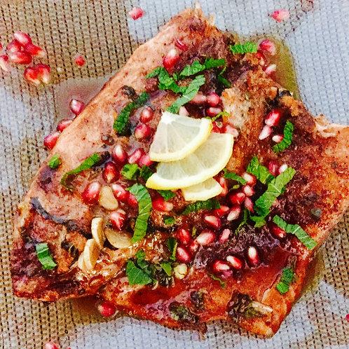 Pomegranate & Mint Baked Salmon Dinner Oct. 25th 4pm PST