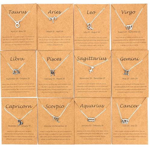Zodiac Symbol Silver Necklaces