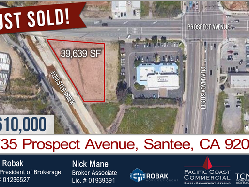 JUST SOLD! 39,639 SF Land in Santee