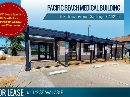 1,142 SF PACIFIC BEACH MEDICAL BUILDING  - 50% RENT SPECIAL Jan-Jun 2021*