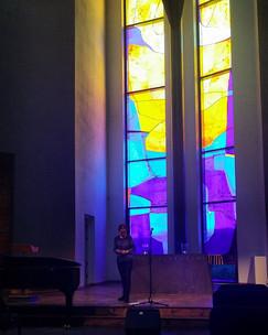 Lydprøve før konsert i Geilo Kulturkirke