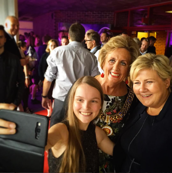 Selfie with the Mayor of Bergen Trude Drevland and Prime Minister of Norway Erna Solberg,