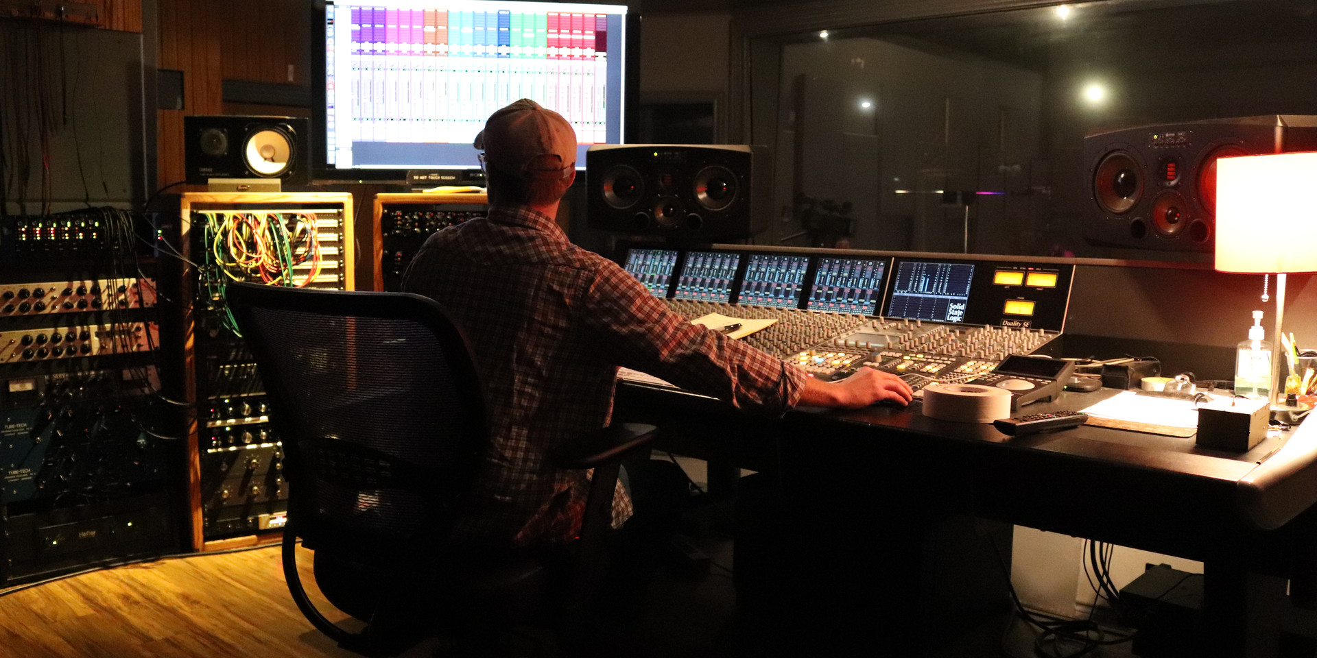 Adam McCoy at the Helm.  Firestation studio in San Marcus