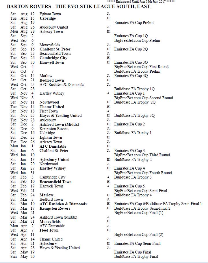 Barton Rovers Fixtures 2017/18