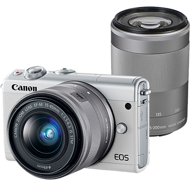 Canon EOS M100 Mirrorless EF-M 15-45mm IS STM + EF-M 55-200 IS STM (White)