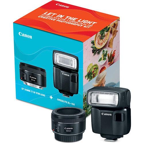 Canon EF 50mm f/1.8 STM Lens + Speedlite EL-100 Creative Photography Kit