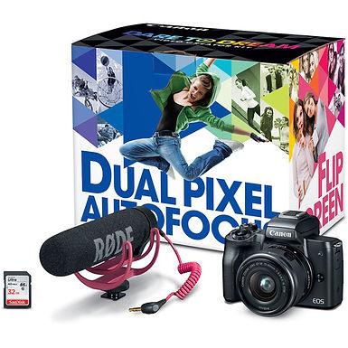 Canon EOS M50 Mirrorless Camera + 15-45mm Lens Video Creator Kit (Bla