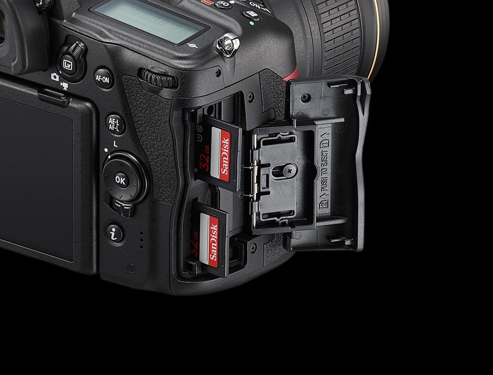 Close up photo of Nikon D780's UHS-II Dual Card Readers