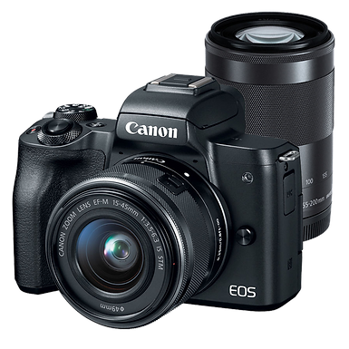 Canon EOS M50 Mirrorless EF-M 15-45mm IS STM + EF-M 55-200 IS STM (Black)