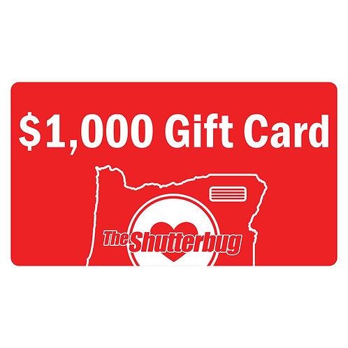 $1,000 Shutterbug Gift Card