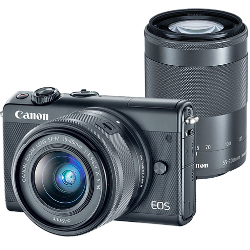 Canon EOS M100 Mirrorless EF-M 15-45mm IS STM + EF-M 55-200 IS STM (Black)