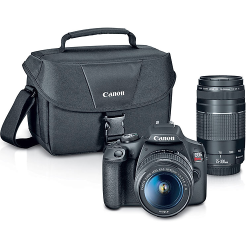 Canon EOS T7 + 18-55mm IS II + 75-300mm III + Case
