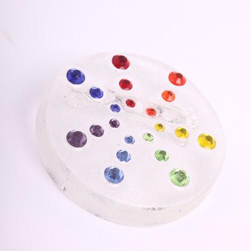 Sparkle Rainbow Round Brooch
